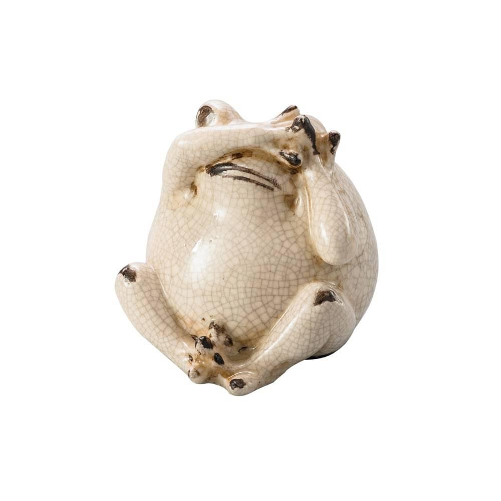 Estatueta Sapo Do Not See em Cerâmica - Lyor Classic - 11,7x10,5 cm