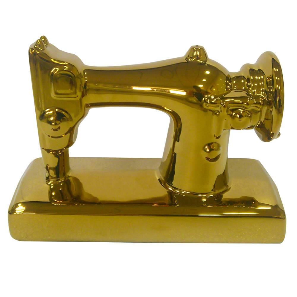 Estatueta Sewing Machine Dourado em Cerâmica - Urban - 22x15 cm