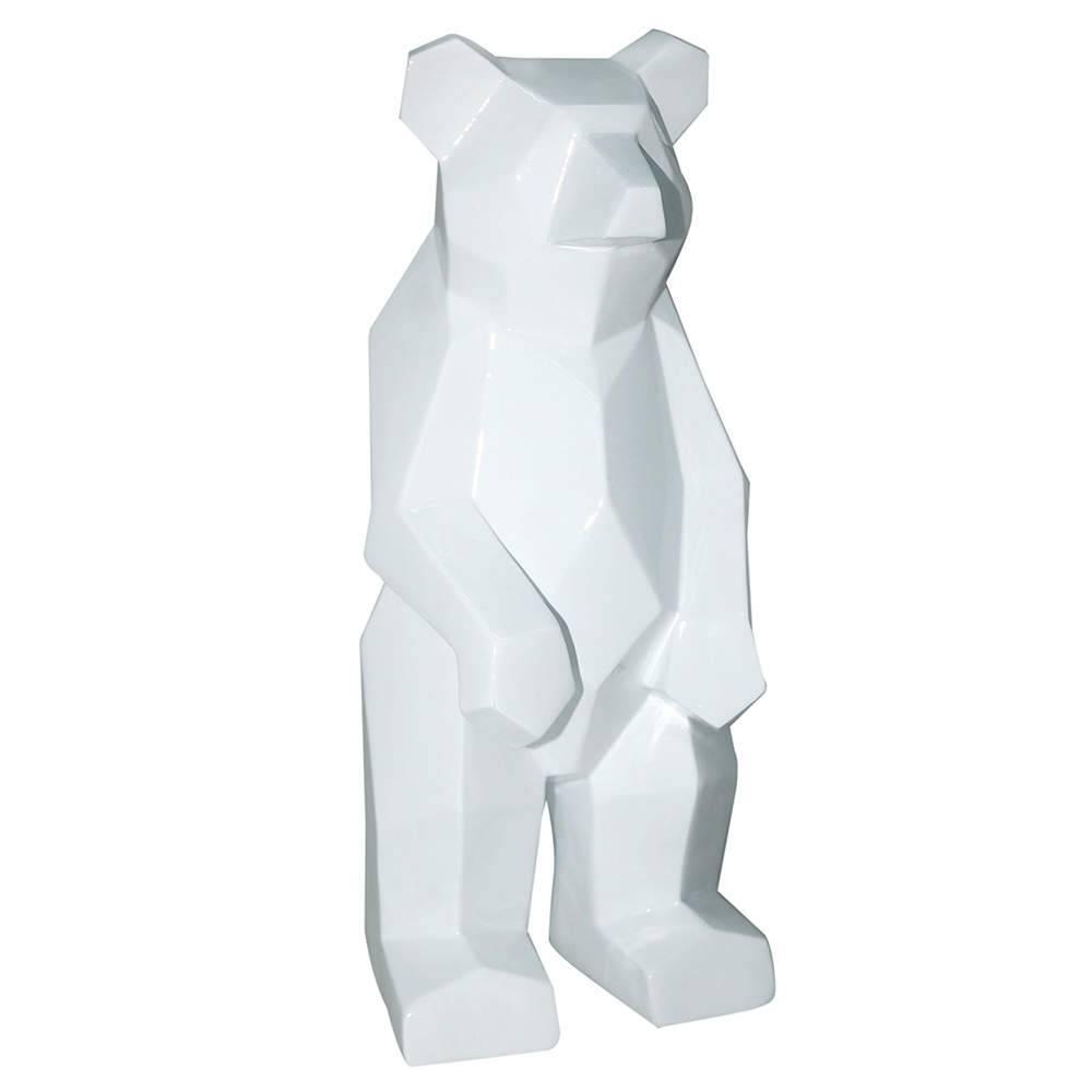 Estatueta Standed Bear Branco em Resina - Urban - 30,5x13,5 cm