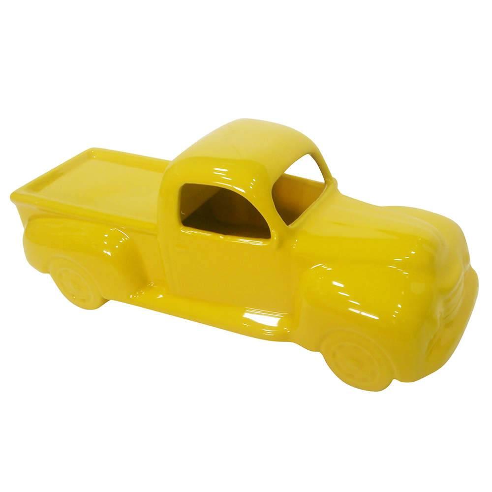 Estatueta Truck Retro Amarelo em Cerâmica - Urban - 33x13 cm