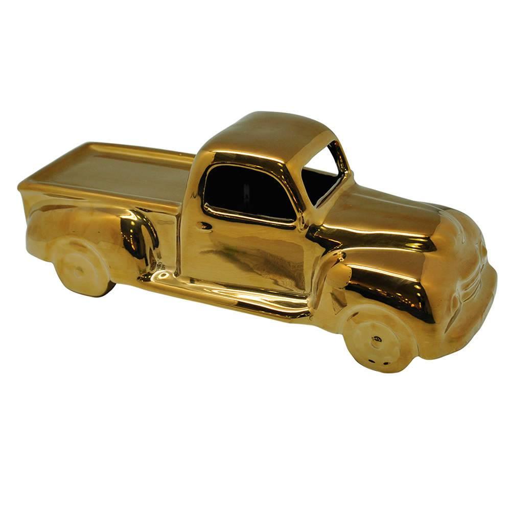 Estatueta Truck Retro Dourado em Cerâmica - Urban - 33x13 cm