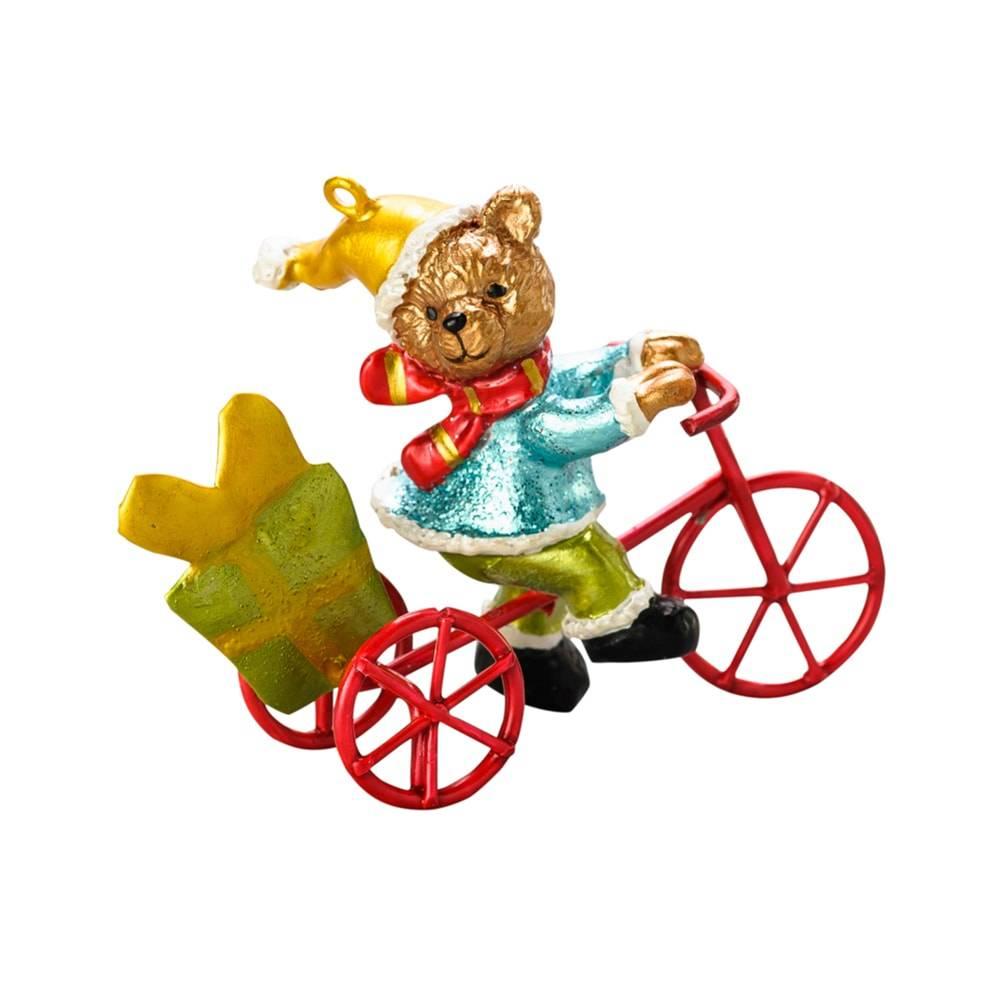 Estatueta Urso Noel na Bicicleta em Poliresina - Lyor Design - 6,5 cm