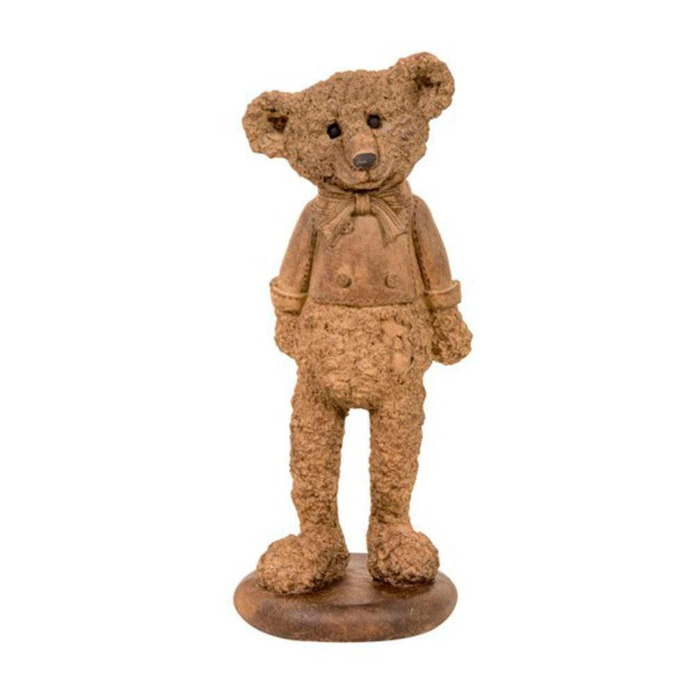 Estatueta Urso de Pé Marrom em Resina - 27x10 cm