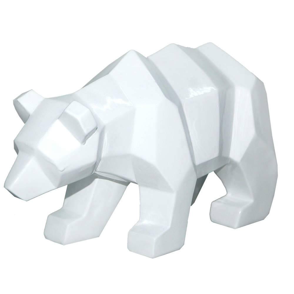 Estatueta Walking Bear Branco em Resina - Urban - 25,8x10,5 cm