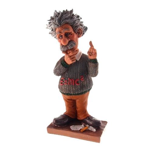 Estatueta/Caricatura Albert Einstein em Resina - 19x8 cm