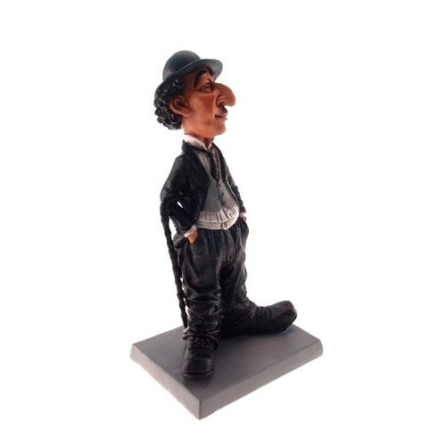 Estatueta/Caricatura Charlie Chaplin em Resina - 19x8 cm
