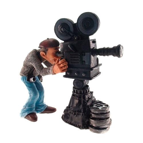 Estatueta/Caricatura Cinegrafista em Resina - 18x18 cm