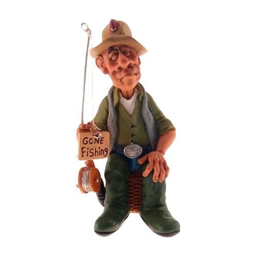 Estatueta/Caricatura Pescador em Resina - 16x8 cm