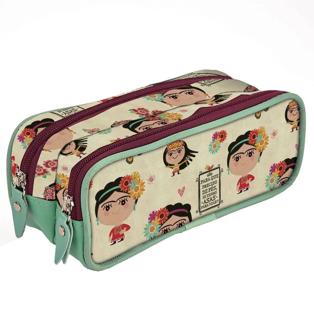 Estojo Duplo Frida - Carpe Diem - em Nylon Resinado - 22x9,5 cm