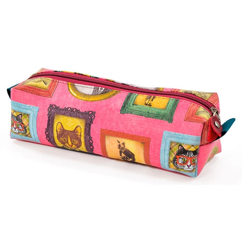 Estojo Gatos de Família - Carpe Diem - Rosa em Couro Sintético - 22x7 cm