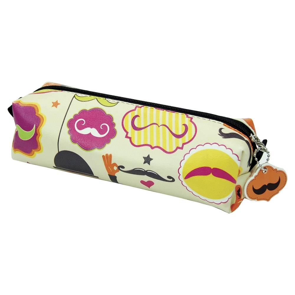 Estojo Mustache - Carpe Diem - em Couro Sintético - 22x7 cm