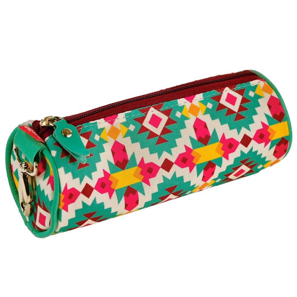 Estojo Redondo Estampa Étnica - Carpe Diem - Colorido em Nylon Resinado - 22x9 cm
