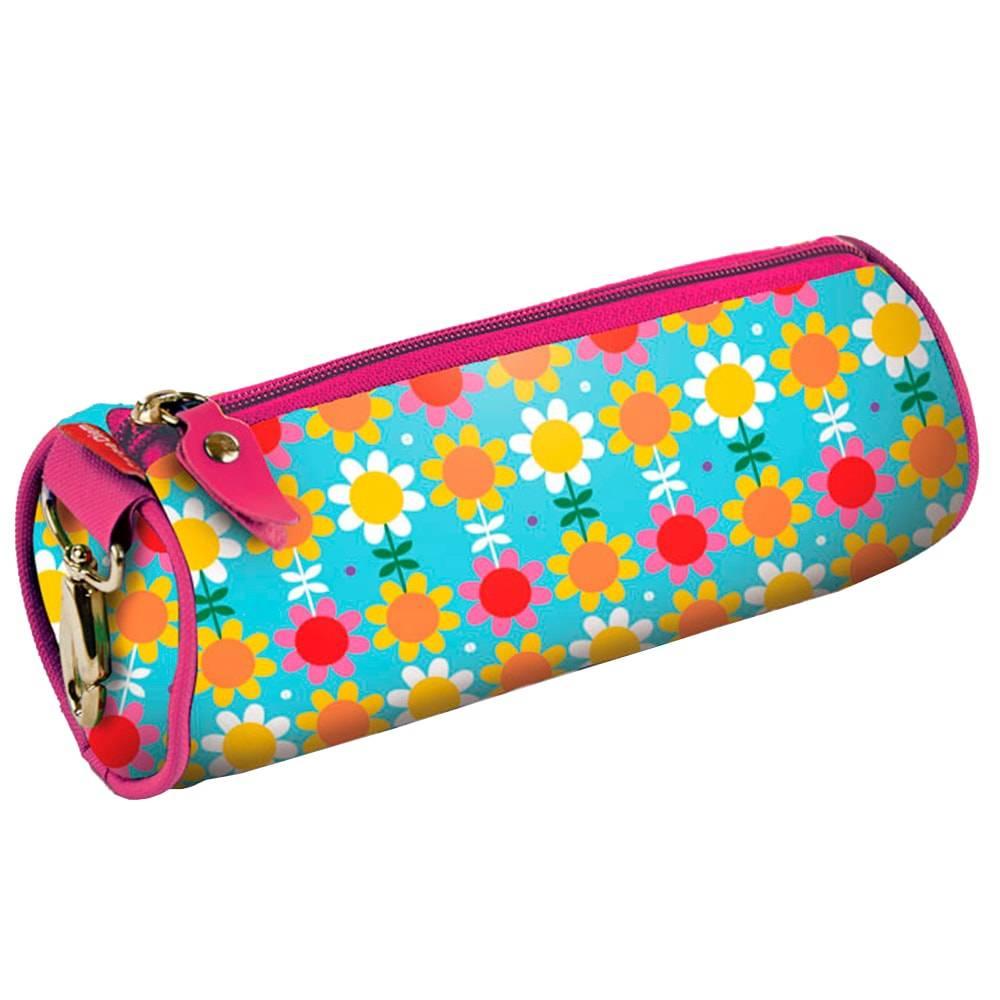 Estojo Redondo Flores - Carpe Diem - Colorido em Nylon Resinado - 22x9 cm