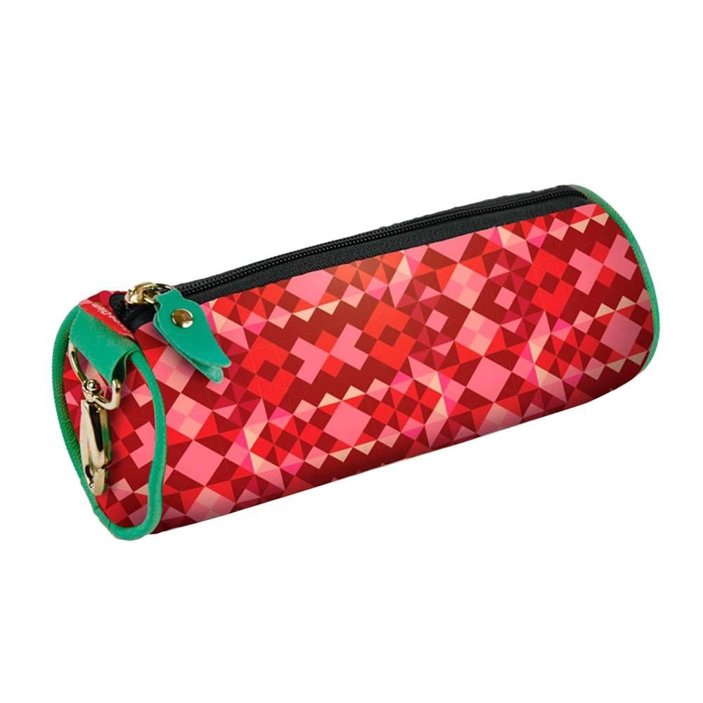 Estojo Redondo Losangos - Carpe Diem - Vermelho em Nylon Resinado - 22x9 cm