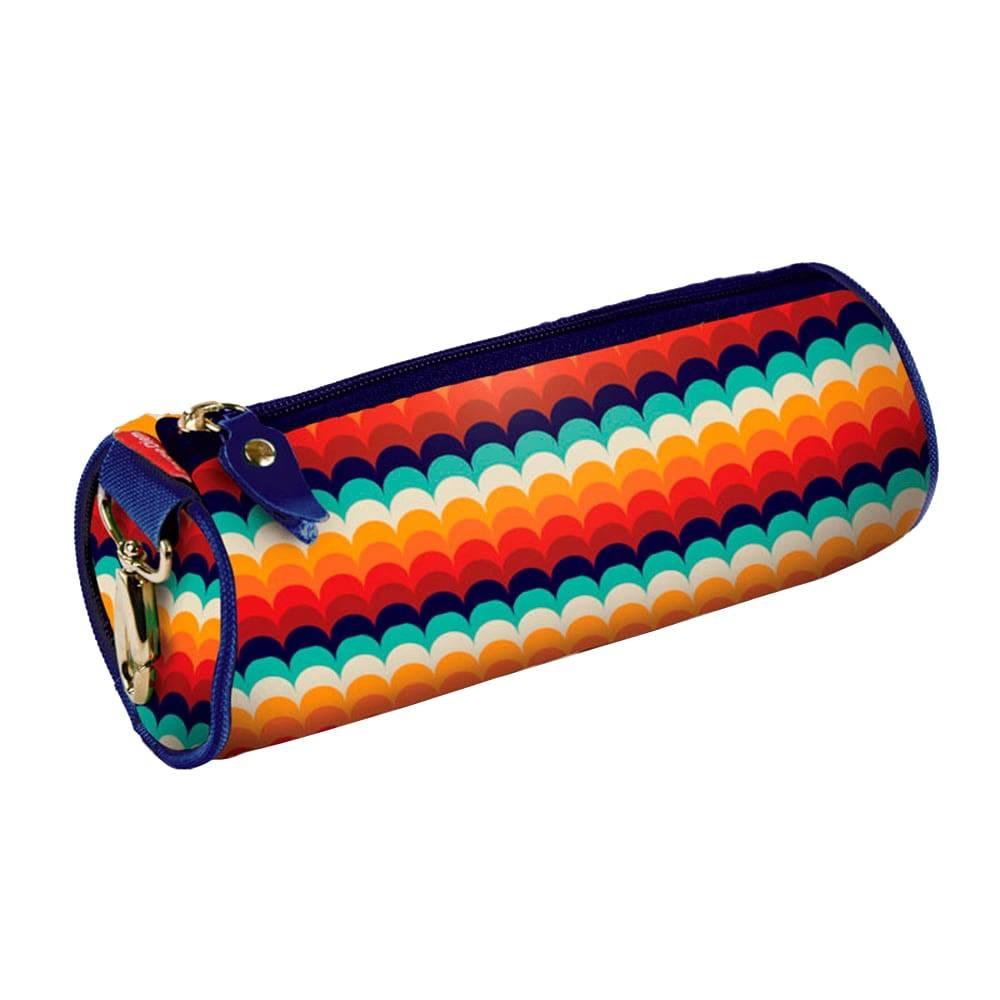 Estojo Redondo Make Love - Carpe Diem - Colorido em Nylon Resinado - 22x9 cm