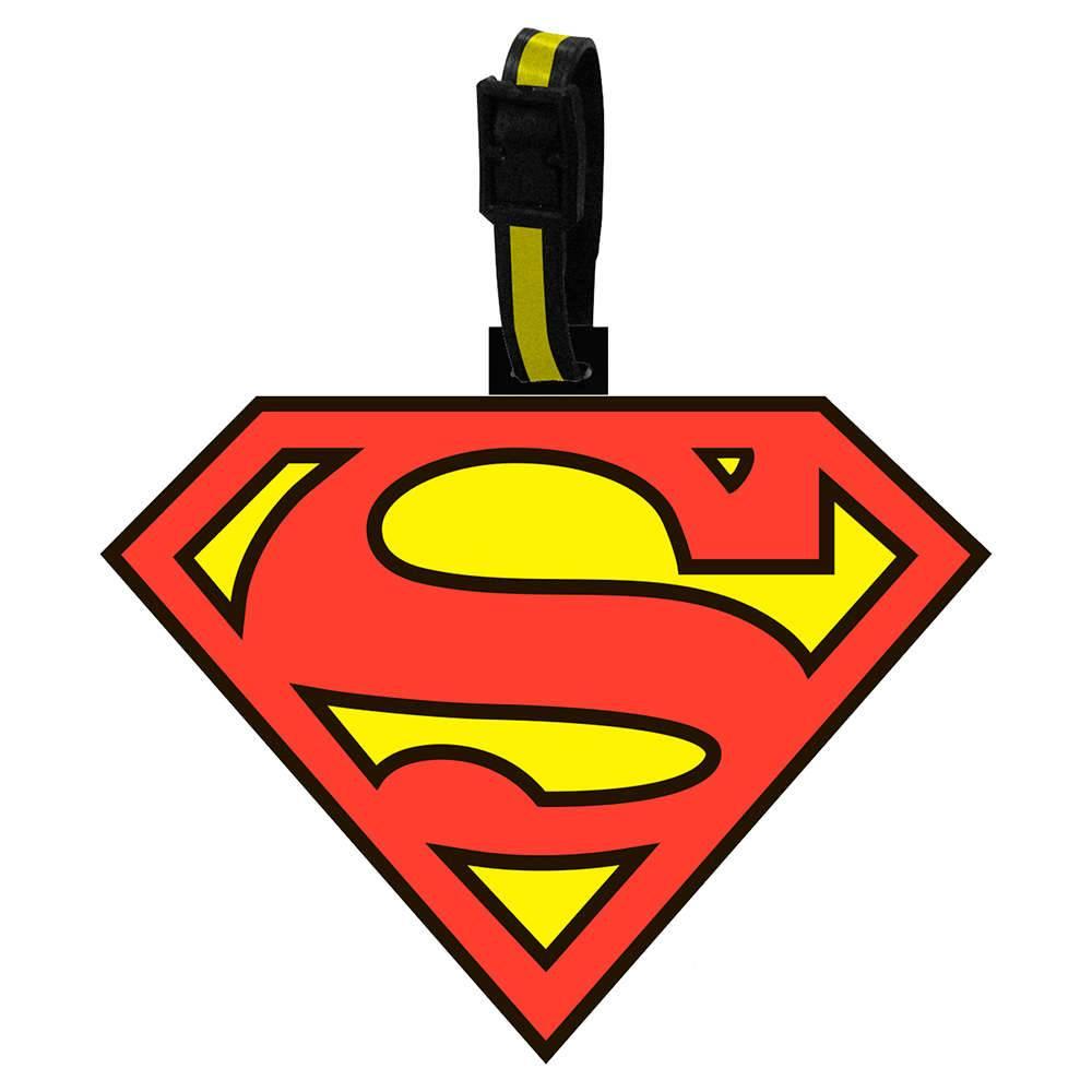 Etiqueta para Mala DC Comics Superman Vermelho e Amarelo em Vinil - Urban - 13x10 cm
