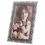 Porta-Retrato Lady Prata Envelhecido em Metal - 17x12 cm