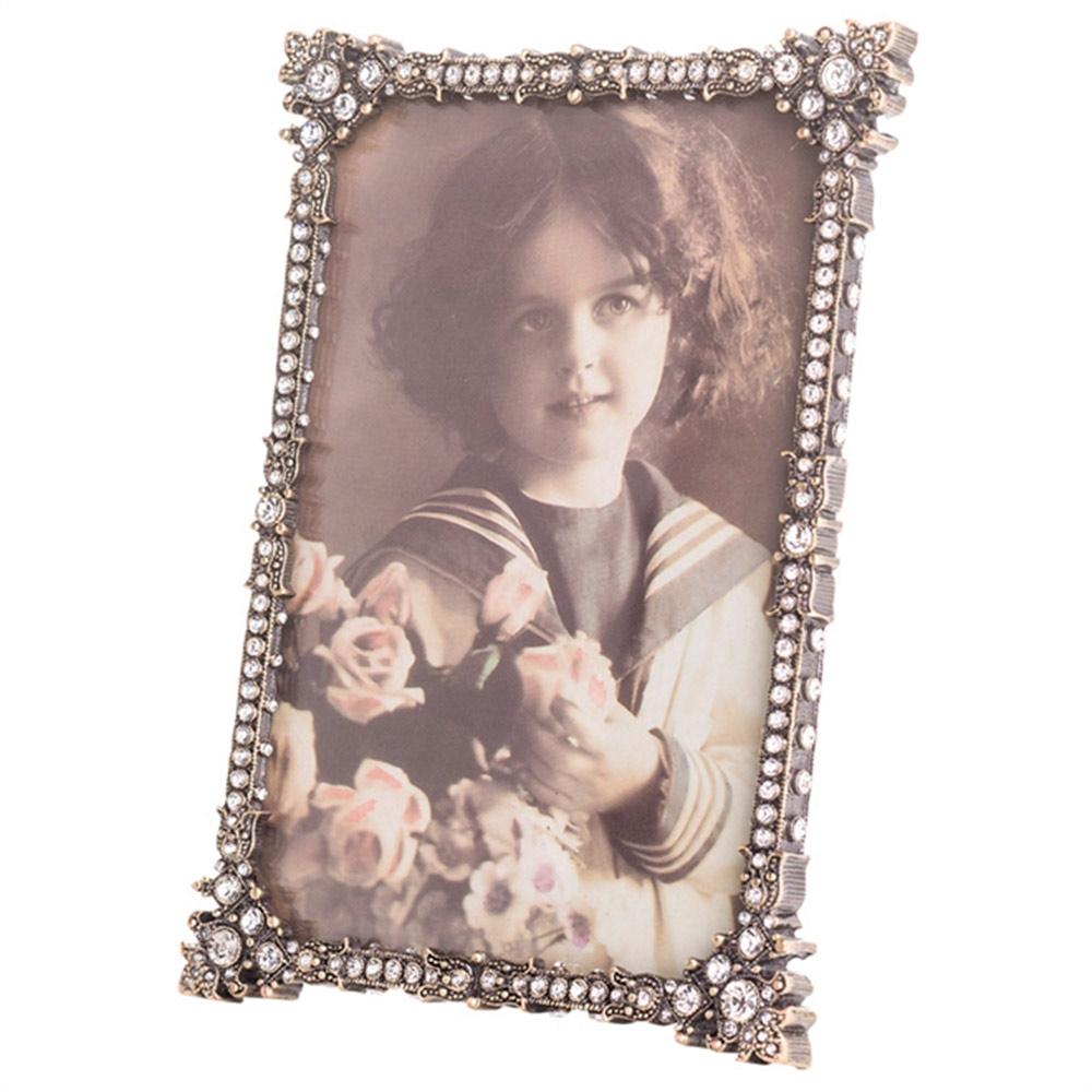 Porta-Retrato Pretty Dourado Envelhecido em Metal e Pedrarias - 16x10 cm