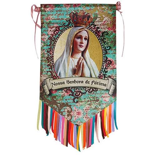 Flag Decorativo Nossa Senhora de Fátima em Cetim - 46x26 cm