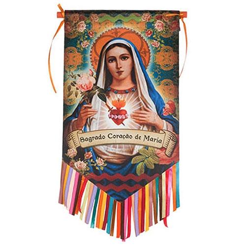 Flag Decorativo Sagrado Coração de Maria em Cetim - 46x26 cm
