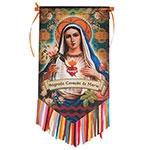 Flag Decorativo Sagrado Coração de Maria em Cetim