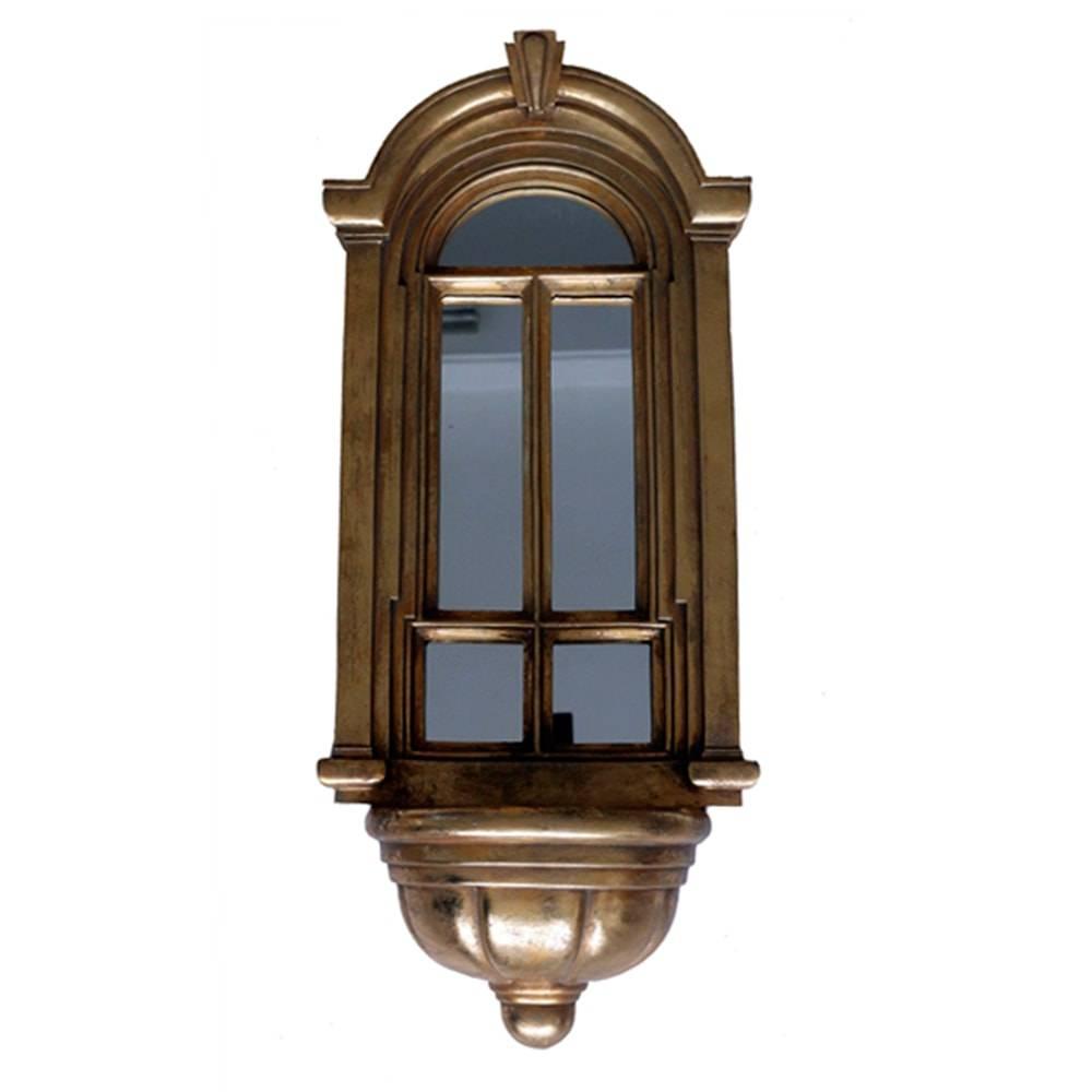 Floreira Janela Espelhada Oval Dourada em Resina - 61x27 cm