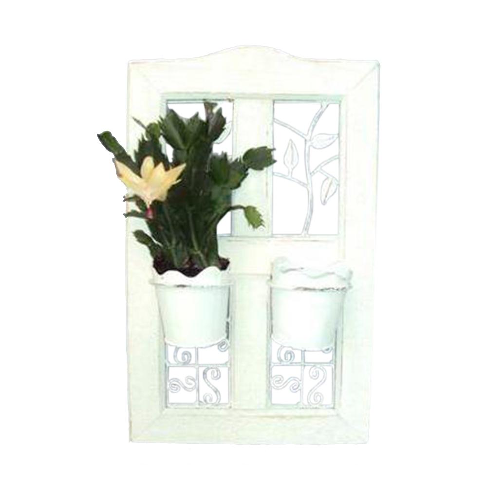 Floreira de Parede Janela Branca com Dois Vasos Paralelos em Ferro - 50x32 cm