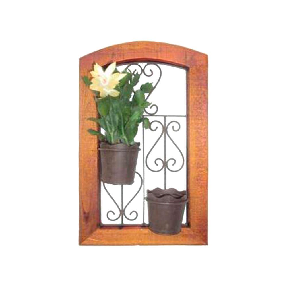 Floreira de Parede Janelinha Arredondada em Madeira - 52x32 cm