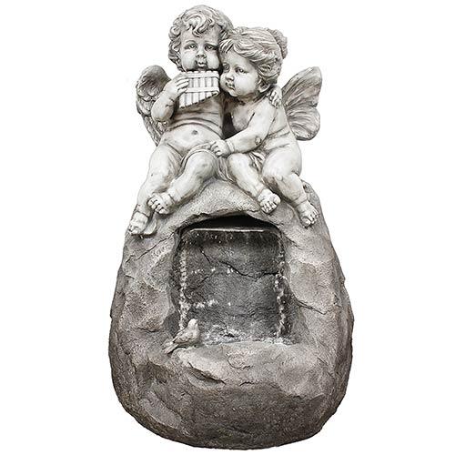 Fonte 2 Anjos na Pedra Espelho de Água Greenway  - 220V - em Resina - 96x60 cm