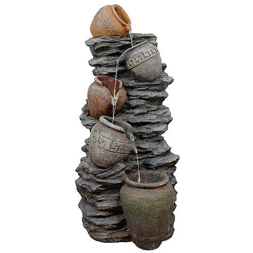 Fonte 4 Jarros nas Pedras Greenway - 220V - em Resina - 123x60 cm