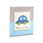 Álbum do Bebê Carrinho Azul - 40 Fotos 13x18 cm - com Caixa