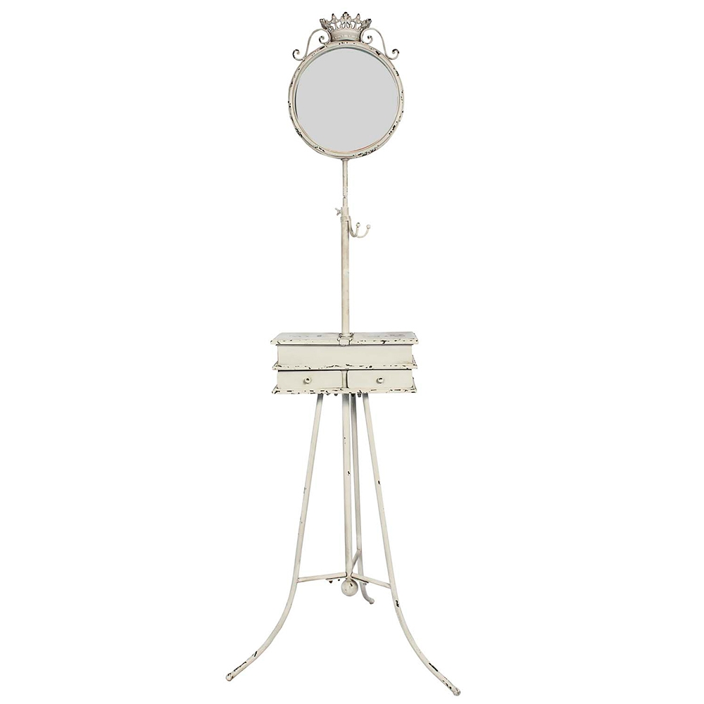 Móvel para Jóias Branco em Metal com Espelho e Moldura - 159x62 cm