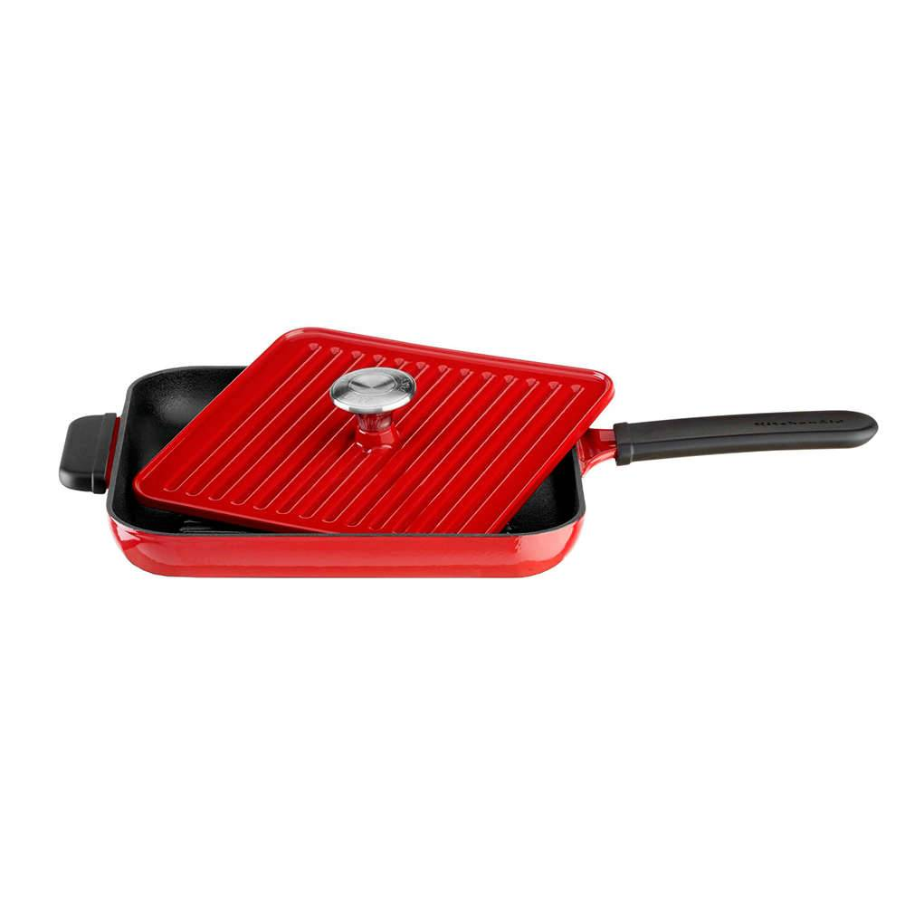Frigideira de Ferro Fundido com Prensa Panini Empire Red KitchenAid - KI748AV - 25 cm