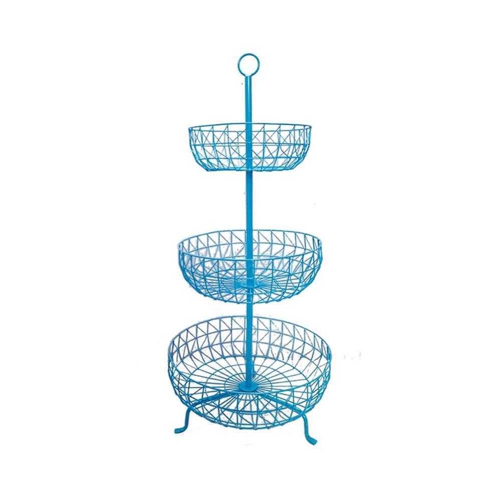 Fruteira 3 Andares Levels Fancy Laces Azul em Ferro - Urban - 91x43 cm