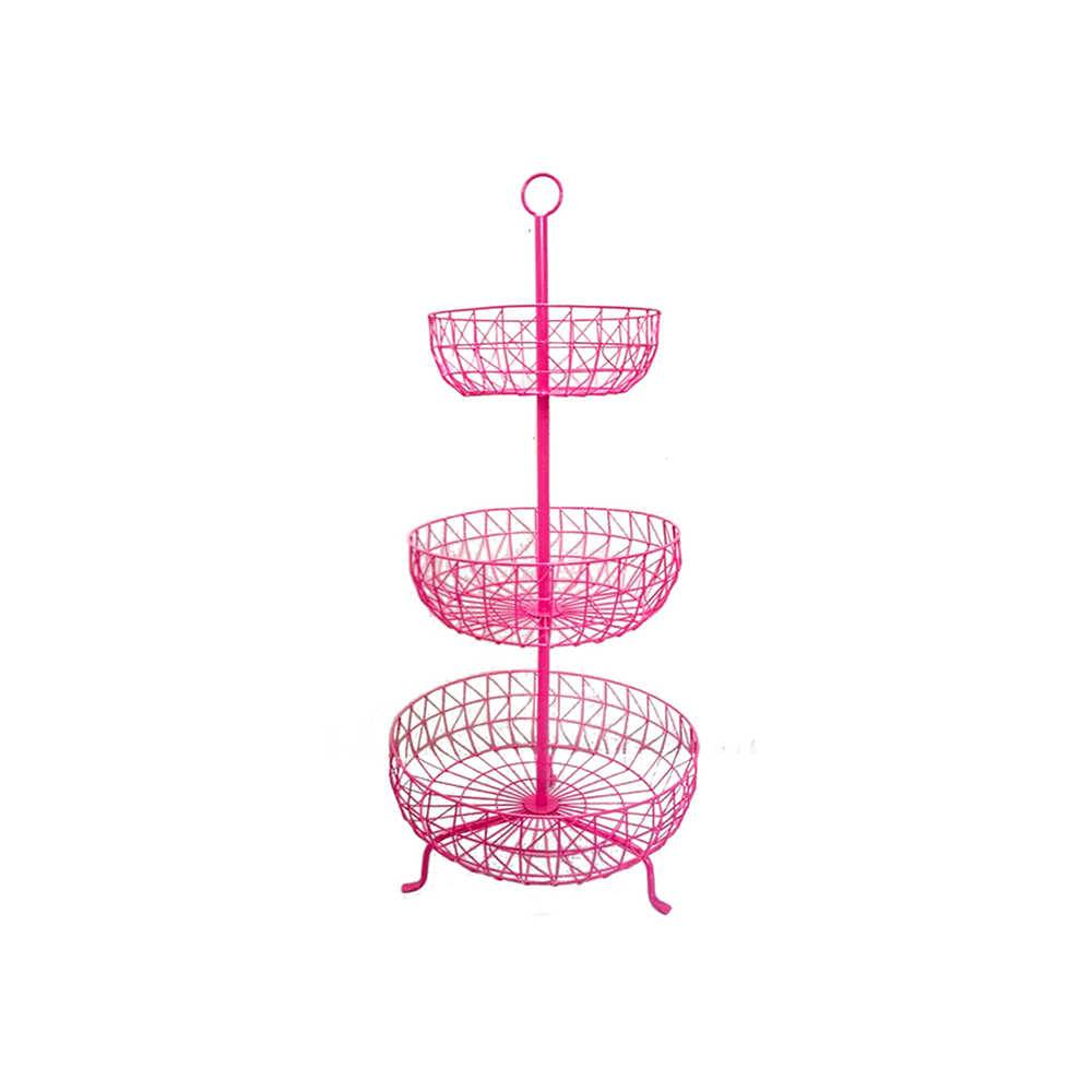 Fruteira 3 Andares Levels Fancy Laces Pink em Ferro - Urban - 91x43 cm