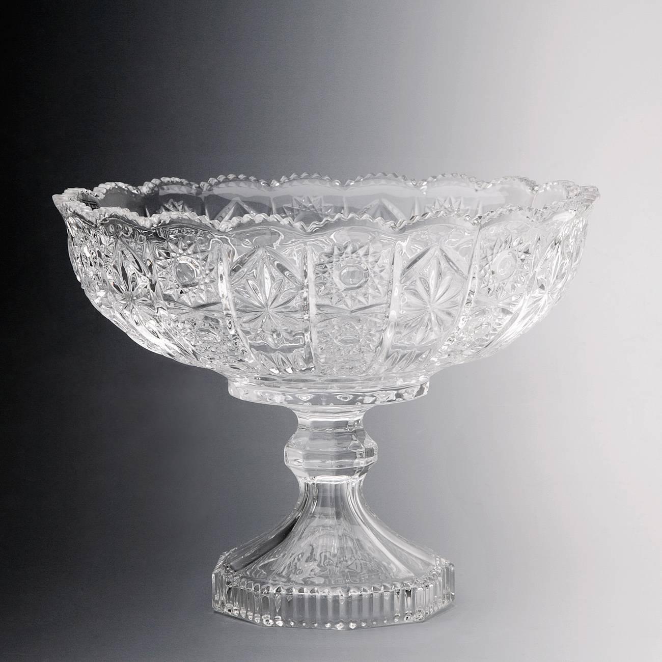 Fruteira Reine Pedestal em Vidro c/ Relevo - Wolff - 27x18,8 cm