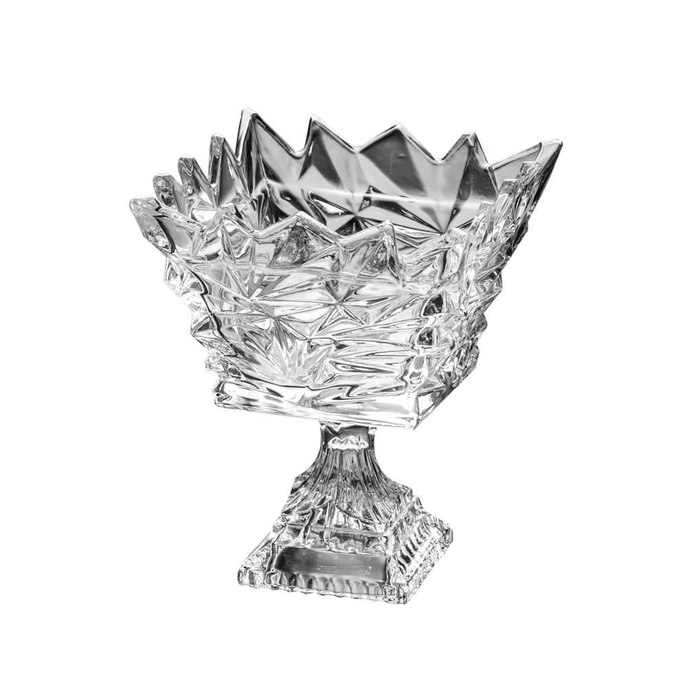 Fruteira Frozen Quadrada Pedestal em Cristal - Lyor Classic - 20x14,5 cm