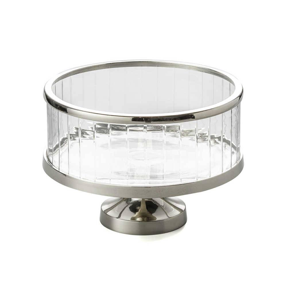 Fruteira Lyon Pedestal em Vidro e Metal - Lyor Classic - 29 cm - Cordão Liso