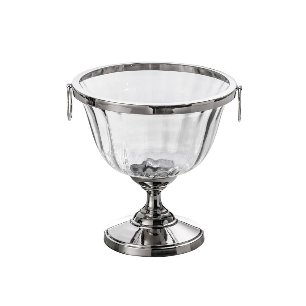 Fruteira Pedestal - com Alças - em Vidro e Metal - Lyor Classic - 22x16 cm