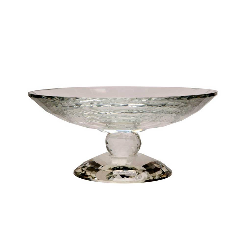 Fruteira Pedestal Redonda Trabalhada em Cristal - 30x14 cm