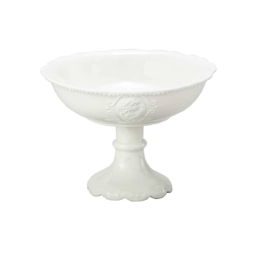 Fruteira Queen Pedestal Branco em Porcelana - Lyor Classic - 22x16 cm