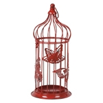 Gaiola Decorativa Butterfly Metal Red - 41x16 cm