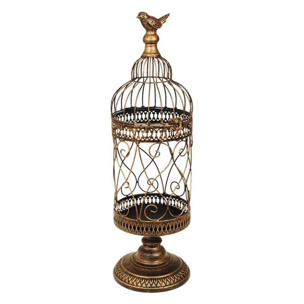 Gaiola Decorativa de Mesa Classic Dourada Modelo Pedestal em Metal - 52x15 cm