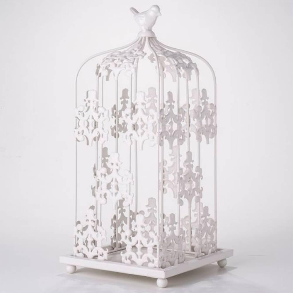 Gaiola Decorativa Mimo Pássaro Branca em Metal - 38x18 cm
