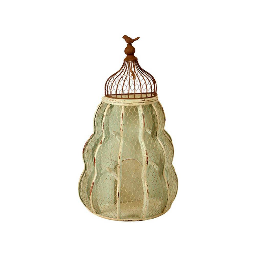 Gaiola Decorativa Reseau em Metal com Acabamento Envelhecido - Pequena - 60x38 cm
