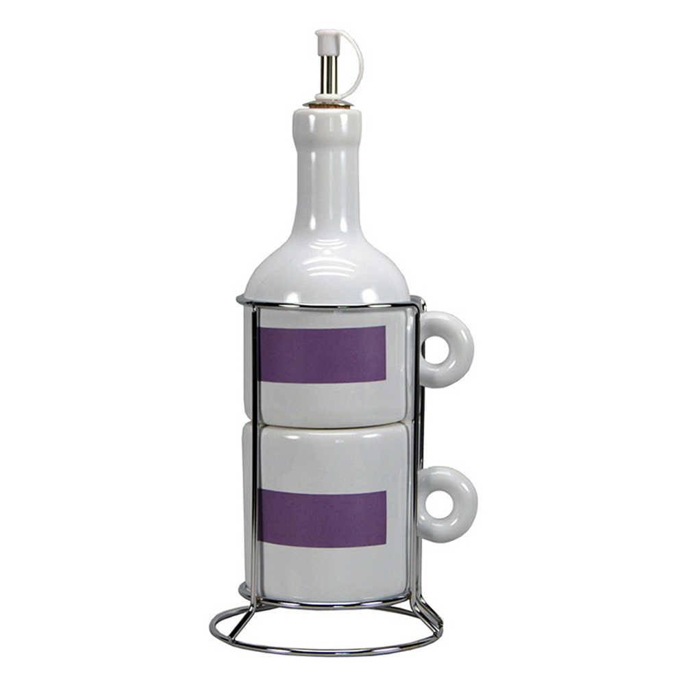 Galheteiro Wine Bottle Branco - 3 Peças - em Cerâmica - Urban - 12x9 cm