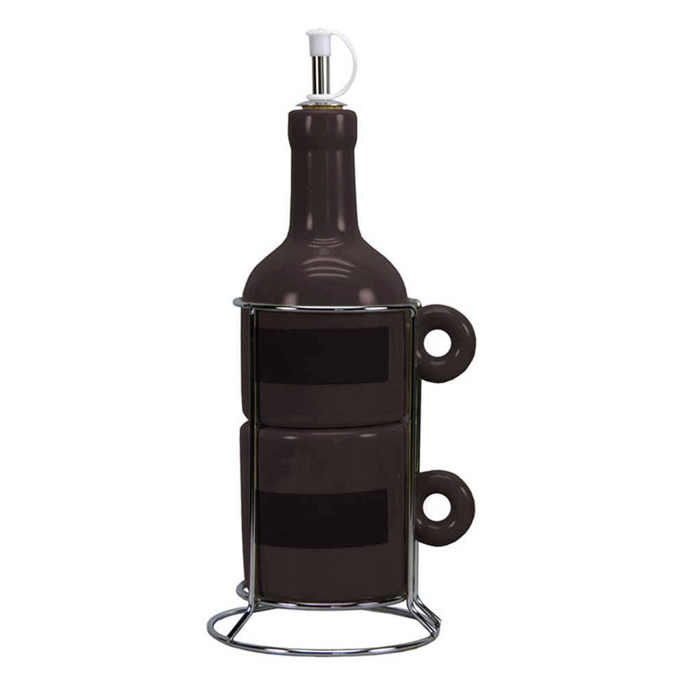 Galheteiro Wine Bottle Preto - 3 Peças - em Cerâmica - Urban - 12x9 cm