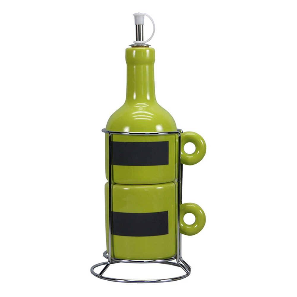 Galheteiro Wine Bottle Verde - 3 Peças - em Cerâmica - Urban - 12x9 cm