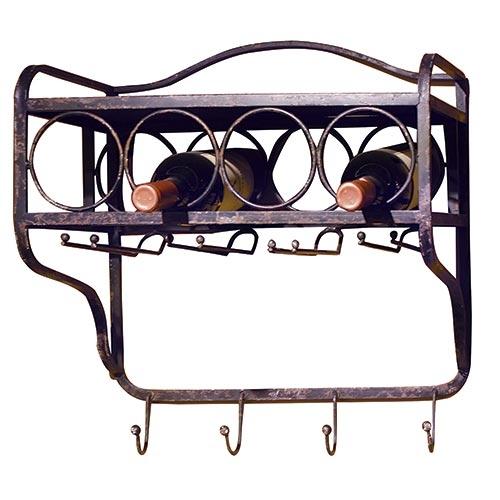 Gancheira com Adega para Taças 4 Ganchos Oldway em Ferro - 49x45 cm