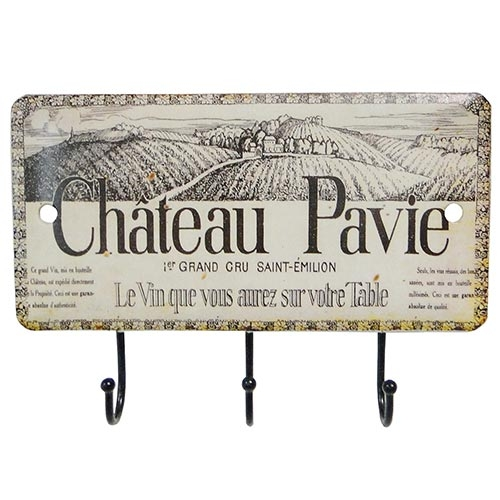 Gancheira Porta Chaves Chateu Pavie 3 Ganchos Oldway - 14x10 cm
